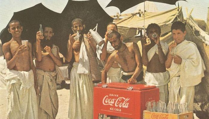 Pilgrim having cold drink 1953